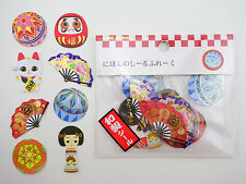 Japanese sticker flakes! Maneki Neko lucky cat, Daruma, Kokeshi, temari, fans