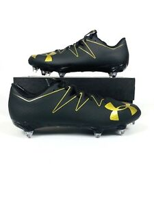 Under Armour Men s Nitro Low Football Soccer Rugby Cleats Black Gold ... 56a3df7af