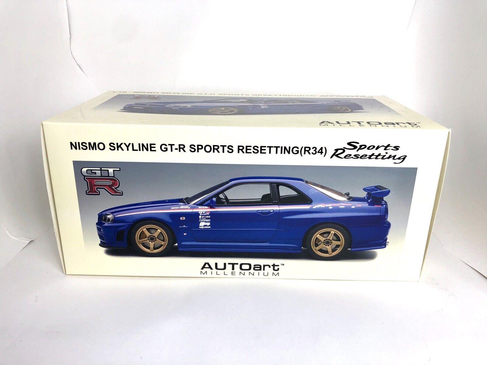 1 18 Nissan Nismo Skyline GT-R Sports Resetting R34 Diecast Model AUTOart 77359