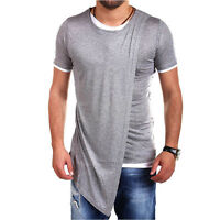 Mens Summer Irregular Hem Slim Fit Casual Short Sleeve Shirts T-shirt Top O Neck