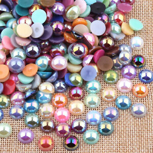 Various-Half-Round-Flat-Back-Pearls-Gems-Craft-Embellishments-Card-Making-Decor