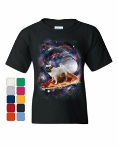 Volontaire Pug Space Pizza Surfer Youth T-shirt Weird Goggles Galaxy Dog Lovers Kids Tee
