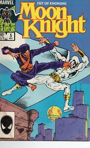 Moon Knight 5 Nov 1985 Fist of Khonshu Marvel Comics