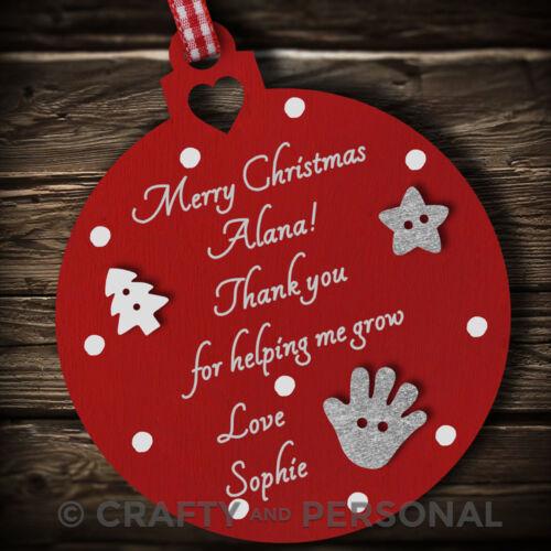Personalised Nursery Teacher Christmas gift tree Bauble Childminder Keyworker