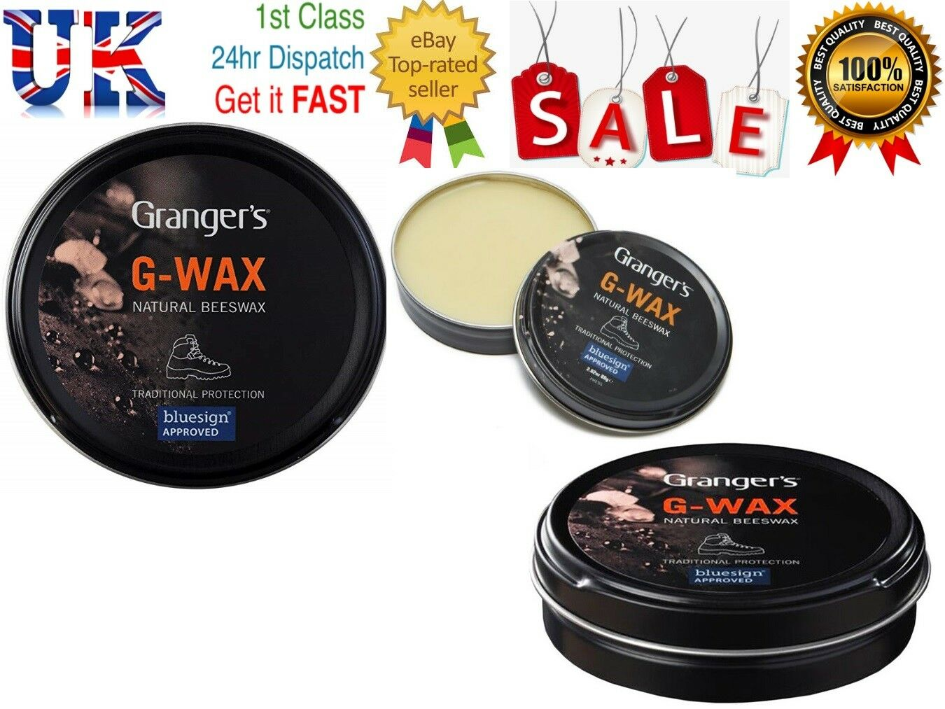 Grangers G Wax 80g Leather shoes  Boot Waterproofer Proofer Beeswax Polish Dubbing  factory outlet
