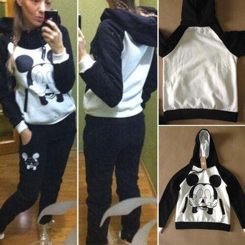 Damen Frauen Mickey Training Kapuzenpulli Sweatshirt Top Hose Jogging Sportanzug