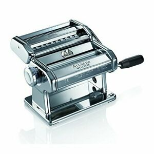 Marcato Atlas 150 Pasta Machine, Silver, Includes Pasta Cutter,Hand Crank,