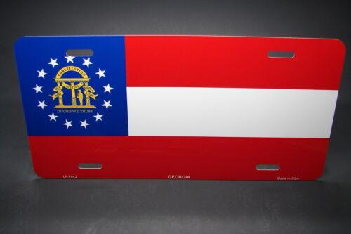 GEORGIA STATE FLAG METAL ALUMINUM CAR LICENSE PLATE TAG