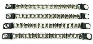 """Biker Vest Chain Extender Heavy 5/8"""" Bike Chain Extension Black Leather-4Pcs"""
