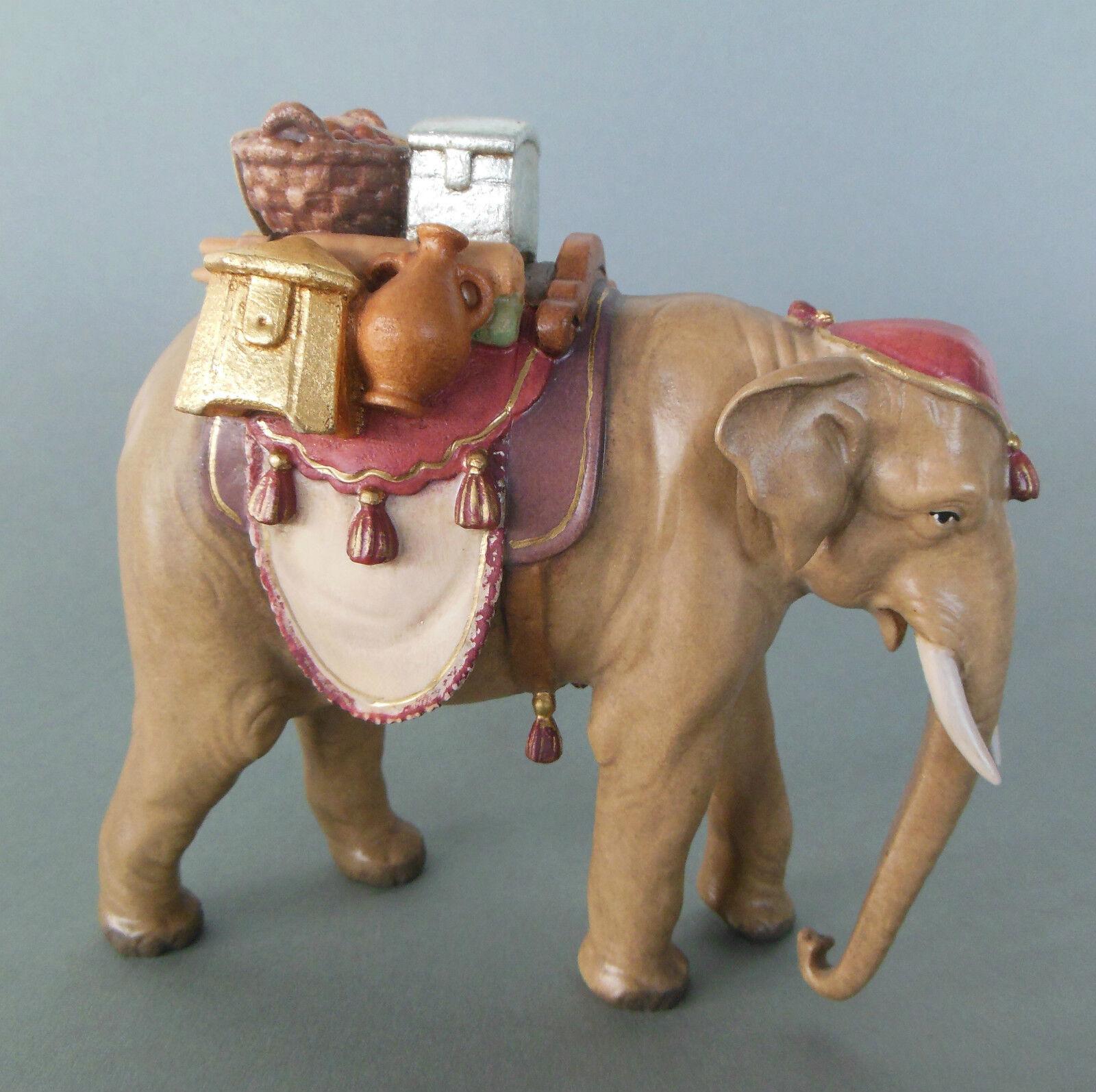 Elefant mit Gepäck braun für Krippenfiguren Größe 11 cm Holz bemalt AM 82 Nr. 2