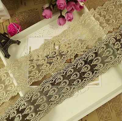 6.3cm,1 Yard Bilateral Handicrafts DIY Embroidered Net Lace Trim Ribbon FL40