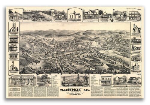 1888 Placerville California Vintage Old Panoramic City Map 24x36