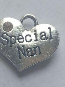 1 o 4 &#034;especial Nan&#034; Plata Tibetana tema familiar Rhinestone corazón encanto  </span>