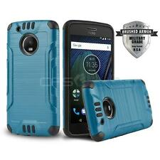 BLUE BRUSHED ARMOR SHOCKPROOF HARD COVER PHONE CASE FOR [MOTOROLA MOTO G5 PLUS]