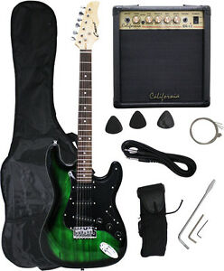 crescent green black electric guitar 15w amp strap cord gigbag new ebay. Black Bedroom Furniture Sets. Home Design Ideas