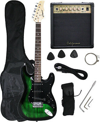 Crescent GREEN/BLACK Electric Guitar+15w AMP+Strap+Cord+Gigbag NEW