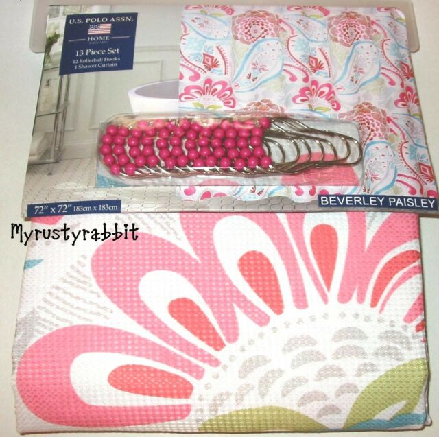 Beverly Paisley Shower Curtain Hooks White Pink Blue 72x72