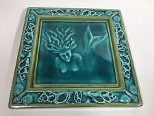 """Vintage Mermaid Turquoise Green 8"""" TILE Florida William Dickson artist Sarasota"""