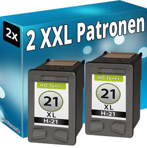 2x TINTE PATRONEN für HP 21 XL DESKJET 3920 3940 D1360 D1460 D1560 D2360 D2460