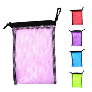 Durable Mesh Stuff Bag with Sliding Drawstring Cord Closure for Diving Blue