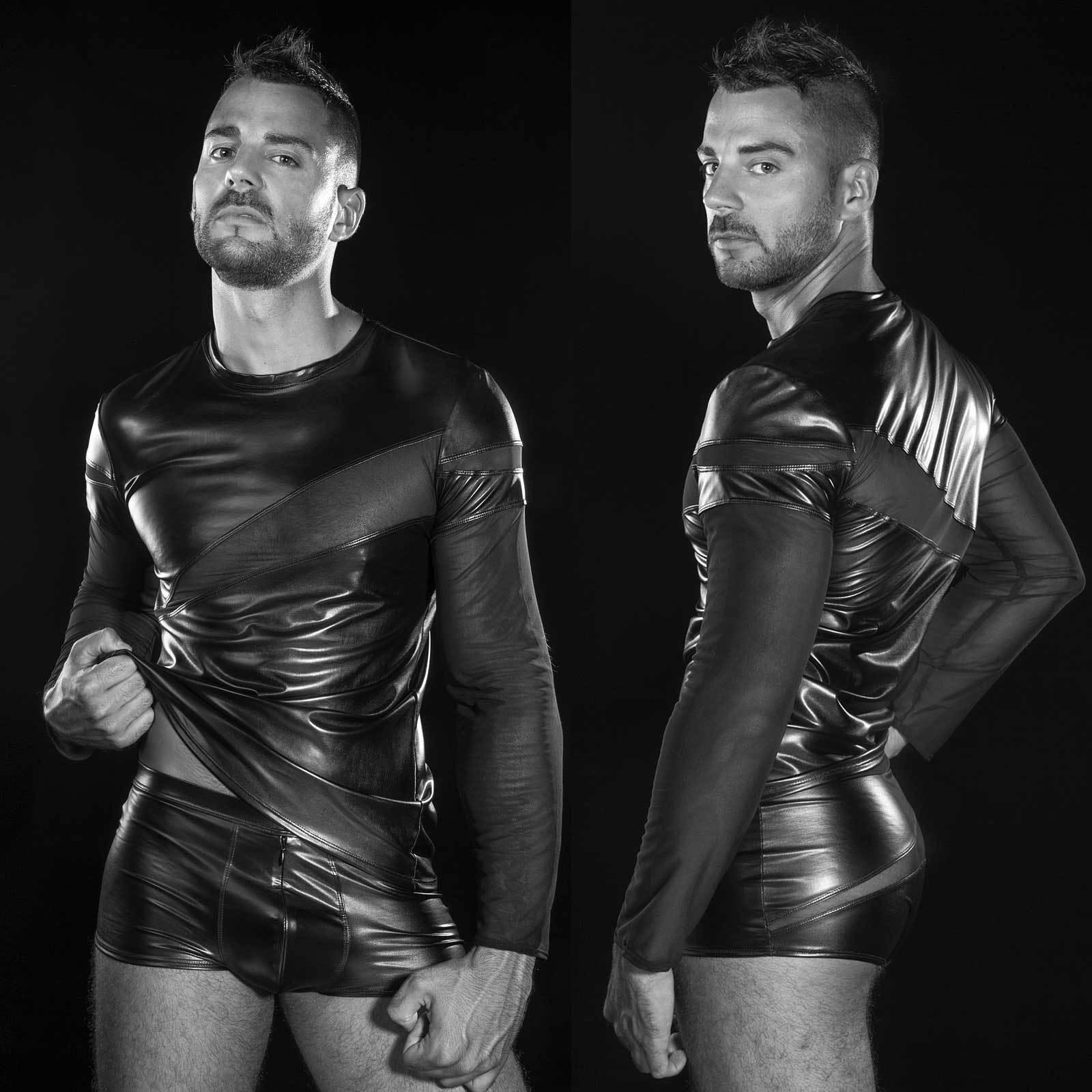 Patrice Catanzaro Alexander Camica Shirt effetto bagnato effetto Mesh Top Clubwear for men
