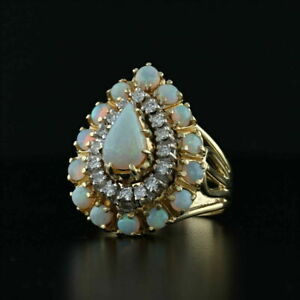2-50Ct-Pear-Cut-Opal-amp-Round-Diamond-Halo-Cocktail-Ring-In-14K-Yellow-Gold-Over