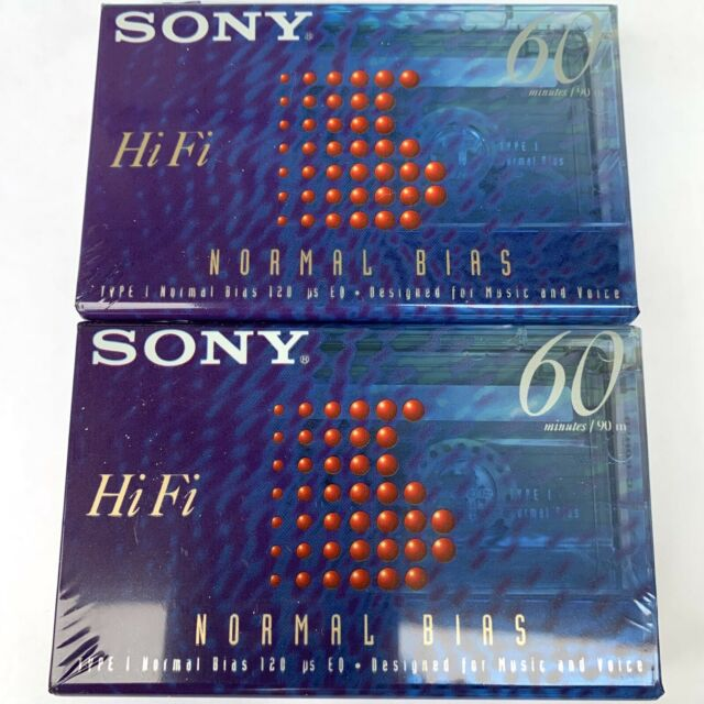 2 Sony HiFi Normal Bias 60 Minute Blank Cassette Tapes