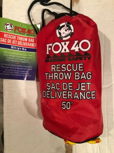 Fox 40 Rescue Throw Bag Kayak Canoe Small Boat First Aid Rope 50 Foot Rope 50/'