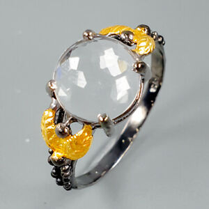 Handmade-Natural-Quartz-925-Sterling-Silver-Ring-Size-8-75-R112026