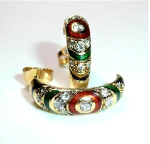 Earrings 750 Gold Halb-Creolen 0,70 CT Diamonds Multicoloured Enamel - 8.6 G