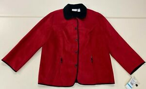 Alfred-Dunner-Womens-Red-Microsuede-Plus-Size-Shelbourne-Fall-Jacket-Sz-20-W