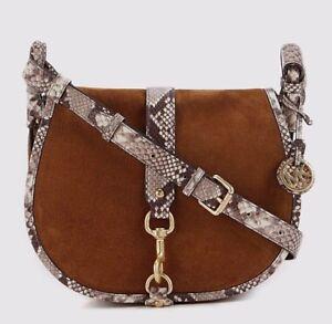 6a2a58c8391 Michael Kors Jamie Dk Carmel Suede Leather NWT Large Saddle bag ...