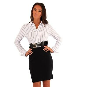Image Is Loading Black White Stripe Shirt Belted Business Dress Office
