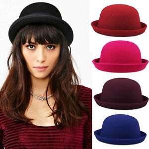 Fashion Style Trendy Wool Blend Hats Bowler Derby Fedora Caps for ... a0fb2ef6aa5
