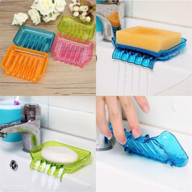 Plastic Waterfall Drain Soap Dish Saver Sponge Clean And Dry Holder Suction Cup