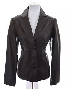 East-5th-Womens-100-Leather-Moto-Blazer-Tailored-Jacket-Coat-Brown-Sz-Large