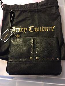 Authentic-Juicy-Couture-Black-Leather-Wristlet