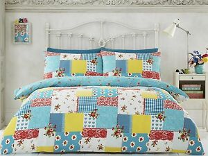 Rosalia-Quilt-Cover-Vintage-Patchwork-Floral-Striped-Reverse-Duvet-Cover-Set-New