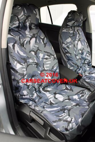 2009- 2 x Fronts Peugeot 207 CC Grey Camouflage Waterproof Car Seat Covers