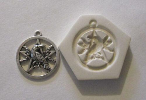 "Raven Moon pentagram Hard Polymer Clay Mold DIY Jewelry Pendant Size 1-1//8/"""