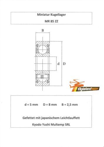 10x Kugellager MR 85 ZZ 5x8x2,5 mm High Precision Ball Bearing 5 x 8 x 2,5 mm