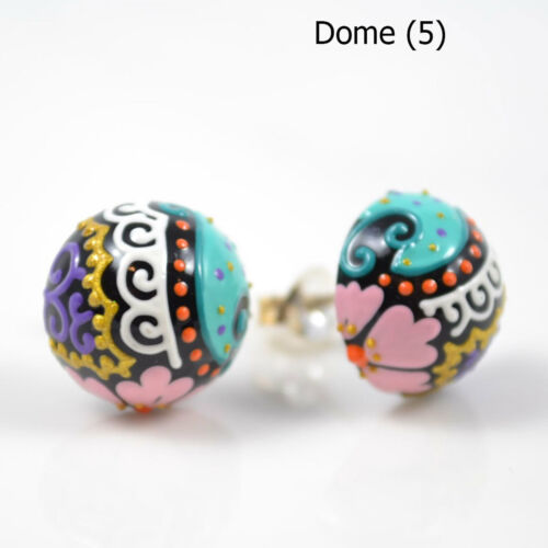 Hand Painted Sterling Silver Earrings 50 unique designs studs festival boho