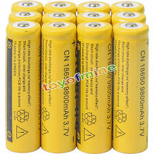 12pcs 18650 3.7V 9800mAh Yellow Li-ion Rechargeable Battery Cell For Torch