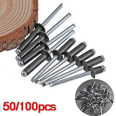 100Pcs M2.4-M5 Aluminum//Steel Blind Pop Rivets Dome Head Open End Black