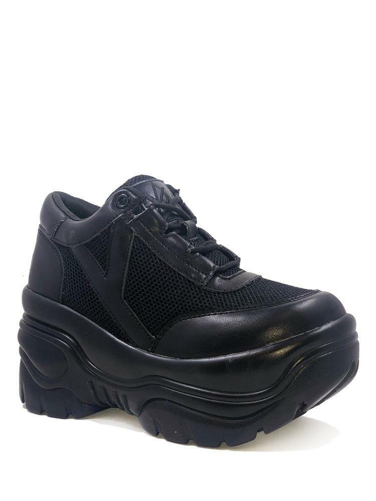 YRU Matrixx 2 Plain Noir Gothique Punk Raver Plateformes Baskets Baskets Chaussures