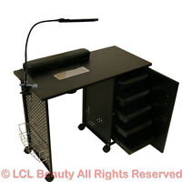 Black Steel Frame Vented Manicure Nail Table Desk Station Spa Salon Equipment on sale