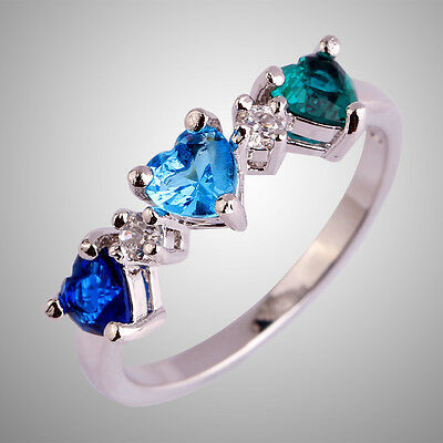 Green & Blue Topaz Sapphire Quartz Gemstone Silver Ring Size L N P R T Heart Cut
