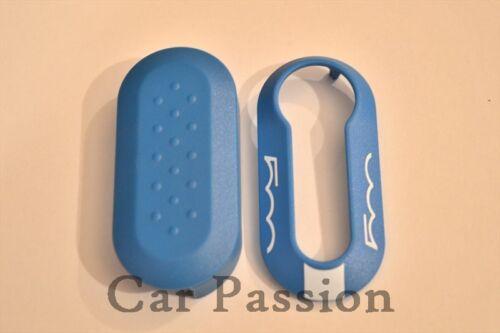 Key shell Remote Cover FIAT 500 500L CINQUECENTO BLUE WHITE badge emblem logo