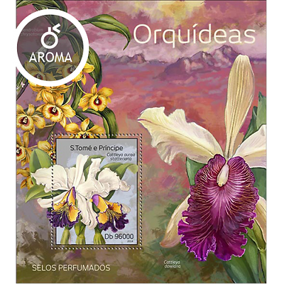 Aroma Stamp! Ingenious Sao Tome 2014 Orchids/flowers/flora/nature e10 S/s Mnh**-