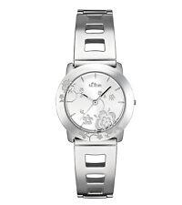 s.Oliver Damenuhr SO-1387-MQ Blumenmotiv Uhr Armband Edelstahl Farbe silber